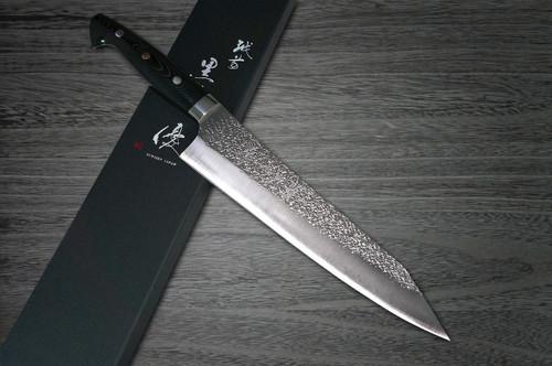 Yu Kurosaki R2SG2 Hammered SHIZUKU Custom MCBC Japanese Chefs Gyuto Knife 240mm with Black Micarta Handle