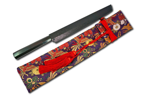 Nishiki Kimono Kitchen Knife Carry Bag Ancient Purple Gokuraku Bird Red Lace