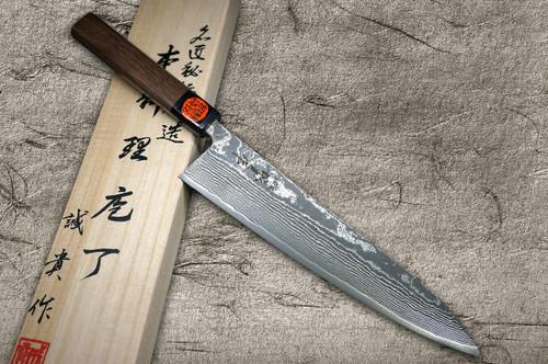 Shigeki Tanaka 33-Layer R2SG2 Damascus Harukaze Japanese Chefs Gyuto Knife 240mm with Walnut Handle