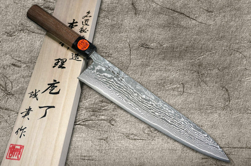 Shigeki Tanaka 33-Layer R2SG2 Damascus Harukaze Japanese Chefs Gyuto Knife 270mm with Walnut Handle