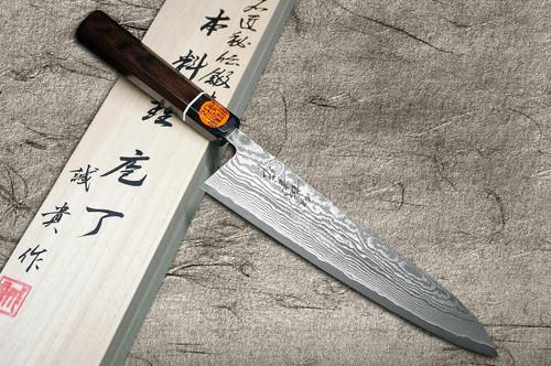 Shigeki Tanaka 33-Layer R2SG2 Damascus Habakiri Japanese Chefs Gyuto Knife 180mm with Ebony Handle
