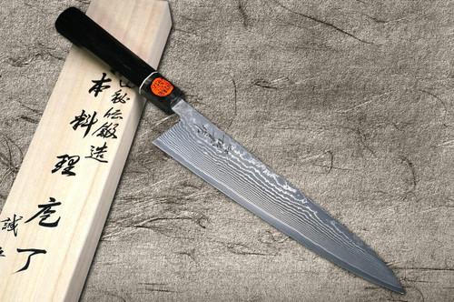 Shigeki Tanaka 33-Layer R2SG2 Damascus Habakiri Japanese Chefs Gyuto Knife 240mm with Ebony Handle