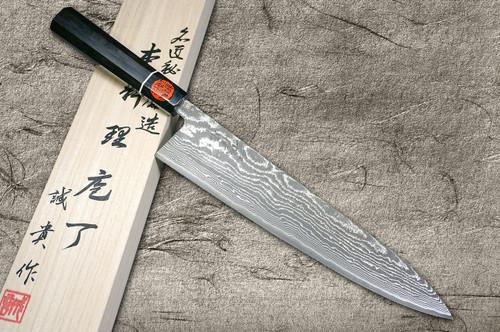Shigeki Tanaka 33-Layer R2SG2 Damascus Habakiri Japanese Chefs Gyuto Knife 270mm with Ebony Handle