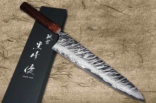 Yu Kurosaki VG10 Damascus FUJIN WA RS8H Japanese Chefs Gyuto Knife 270mm with Brown-Ring Octagonal Handle