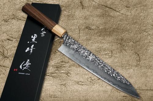Yu Kurosaki R2SG2 Hammered SHIZUKU WA RS8P Japanese Chefs Gyuto Knife 210mm with White-Ring Octagonal Handle