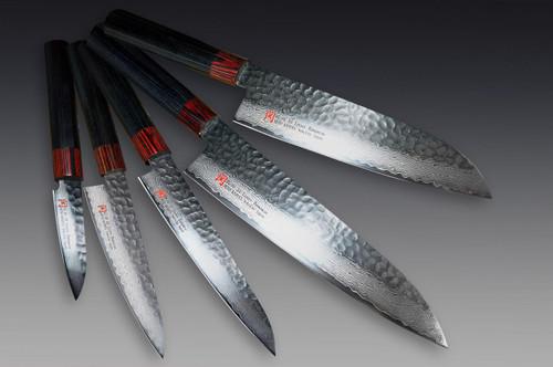 Iseya I-series 33 Layer VG-10 Damascus Hammered Japanese Chefs Knife SET Gyuto - Santoku - Small Santoku - Petty - Paring