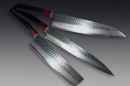Iseya I-series 33 Layer VG-10 Damascus Hammered Japanese Chefs Knife SET Gyuto 210mm - Vegetable KnifeNakiri180mm - Yanagiba 210mm