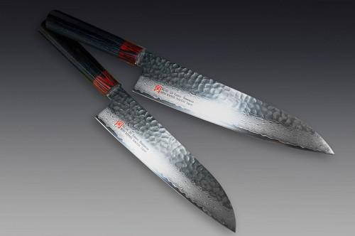 Iseya I-series 33 Layer VG-10 Damascus Hammered Japanese Chefs Knife SET Gyuto 210mm - Santoku 180mm