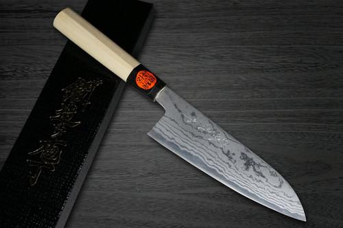 Shigeki Tanaka Aogami No.2 Damascus MB Japanese Chefs Santoku Knife 165mm with Magnolia Wood Handle