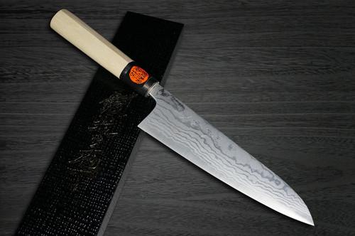 Shigeki Tanaka Aogami No.2 Damascus MB Japanese Chefs Kengata-Gyuto Knife 180mm with Magnolia Wood Handle