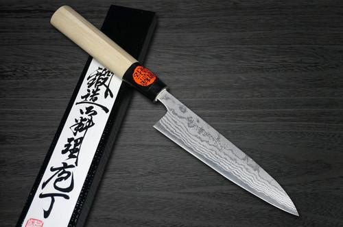Shigeki Tanaka Aogami No.2 Damascus MB Japanese Chefs Petty KnifeUtility 135mm with Magnolia Wood Handle