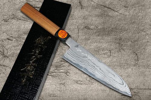 Shigeki Tanaka Aogami No.2 Damascus WN Japanese Chefs Santoku Knife 165mm with Walnut Handle