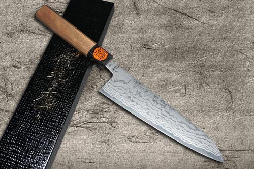 Shigeki Tanaka Aogami No.2 Damascus WN Japanese Chefs Kengata-Gyuto Knife 180mm with Walnut Handle