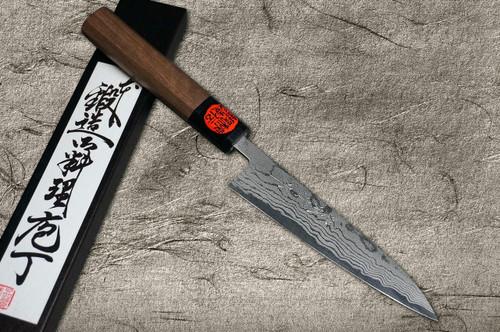 Shigeki Tanaka Aogami No.2 Damascus WN Japanese Chefs Petty KnifeUtility 135mm with Walnut Handle