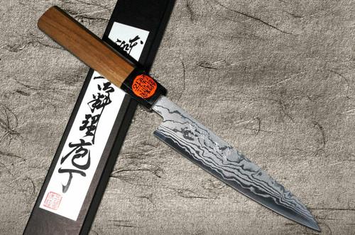 Shigeki Tanaka Aogami No.2 Damascus WN Japanese Chefs Petty KnifeUtility 150mm with Walnut Handle