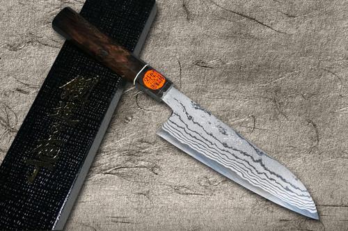 Shigeki Tanaka Aogami No.2 Damascus EB Japanese Chefs Santoku Knife 165mm with Ebony Handle