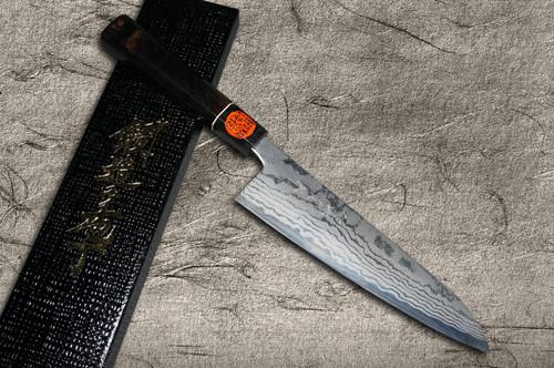 Shigeki Tanaka Aogami No.2 Damascus EB Japanese Chefs Kengata-Gyuto Knife 180mm with Ebony Handle