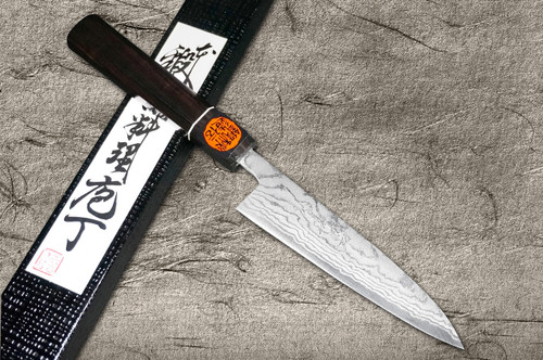 Shigeki Tanaka Aogami No.2 Damascus EB Japanese Chefs Petty KnifeUtility 135mm with Ebony Handle