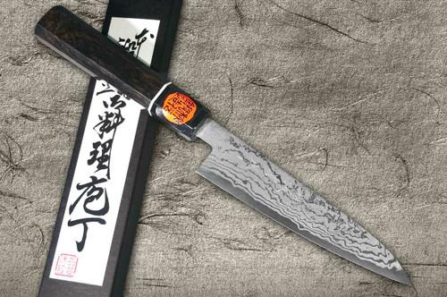 Shigeki Tanaka Aogami No.2 Damascus EB Japanese Chefs Petty KnifeUtility 150mm with Ebony Handle