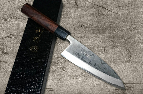 Takayuki Iwai Shirogami No.1 Damascus FUMON RS Japanese Chefs Deba Knife 135mm