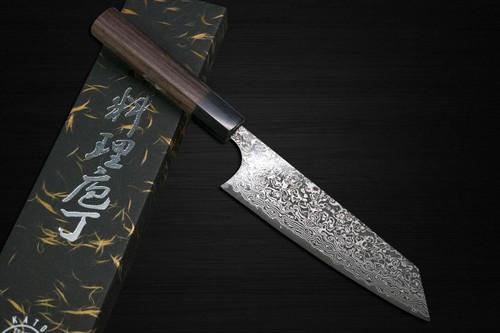 Yoshimi Kato 63 Layer VG10 Black Damascus RS8 Japanese Chefs Bunka Knife 170mm with Black-Ring Octagonal Handle
