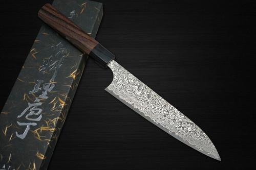 Yoshimi Kato 63 Layer VG10 Black Damascus RS8 Japanese Chefs Gyuto Knife 180mm with Black-Ring Octagonal Handle