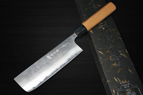Yoshimi Kato Aogami Super Clad Nashiji AC Japanese Chefs NakiriVegetable 165mm with Black Cherry Octagonal Handle