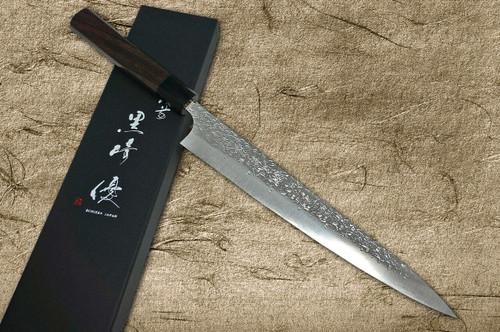 Yu Kurosaki R2SG2 Hammered SHIZUKU WA RS8B Japanese Chefs SlicerSujihiki 270mm with Black-Ring Octagonal Handle