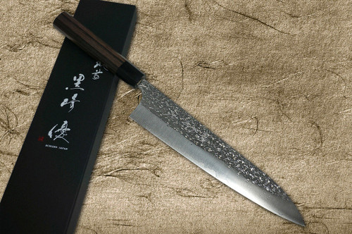 Yu Kurosaki R2SG2 Hammered SHIZUKU WA RS8B Japanese Chefs Gyuto Knife 240mm with Black-Ring Octagonal Handle