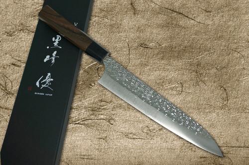 Yu Kurosaki R2SG2 Hammered SHIZUKU WA RS8B Japanese Chefs Gyuto Knife 210mm with Black-Ring Octagonal Handle