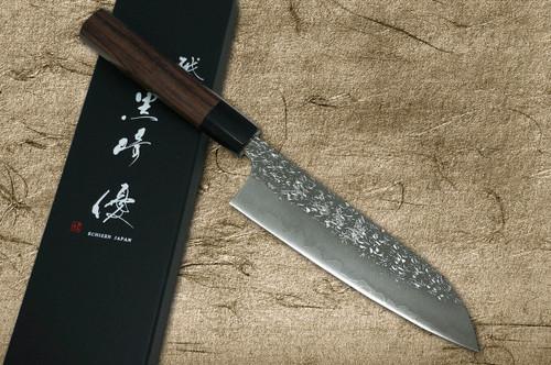 Yu Kurosaki R2SG2 Hammered SHIZUKU WA RS8B Japanese Chefs Santoku Knife 170mm with Black-Ring Octagonal Handle