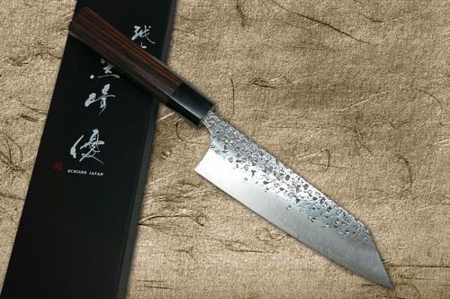 Yu Kurosaki R2SG2 Hammered SHIZUKU WA RS8B Japanese Chefs Bunka Knife 165mm with Black-Ring Octagonal Handle