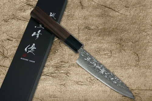 Yu Kurosaki R2SG2 Hammered SHIZUKU WA RS8B Japanese Chefs Petty KnifeUtility 150mm with Black-Ring Octagonal Handle