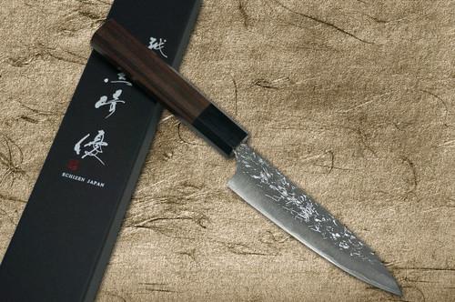 Yu Kurosaki R2SG2 Hammered SHIZUKU WA RS8B Japanese Chefs Petty KnifeUtility 120mm with Black-Ring Octagonal Handle