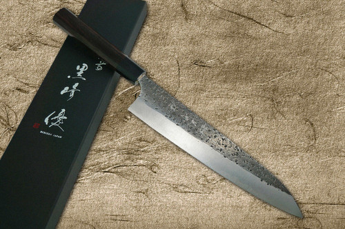 Yu Kurosaki Aogami Super Hammered Kurouchi WA RS8B Japanese Chefs Gyuto Knife 270mm with Black-Ring Octagonal Handle