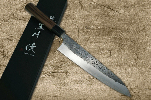 Yu Kurosaki Aogami Super Hammered Kurouchi WA RS8B Japanese Chefs Gyuto Knife 180mm with Black-Ring Octagonal Handle
