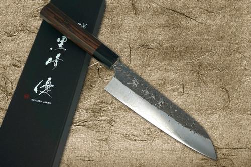 Yu Kurosaki Aogami Super Hammered Kurouchi WA RS8B Japanese Chefs Santoku Knife 170mm with Black-Ring Octagonal Handle