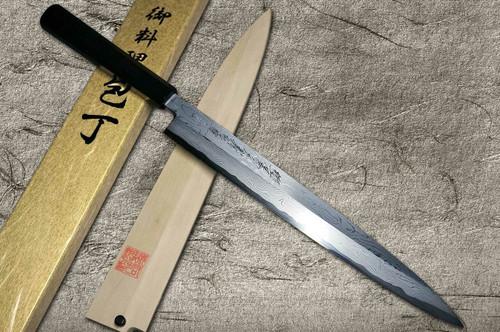 Yoshihiro Aogami No.1 Damascus Suminagashi B1SN-E Japanese Chefs YanagibaSashimi 300mm with Saya Sheath and Ebony Handle