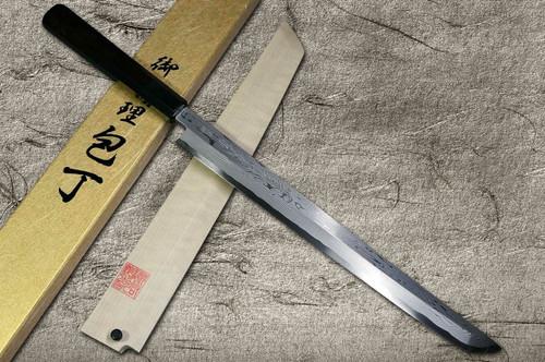 Yoshihiro Aogami No.1 Damascus Suminagashi B1SN-E Japanese Chefs Sakimaru-TakohikiSashimi 330mm with Saya Sheath and Ebony Handle