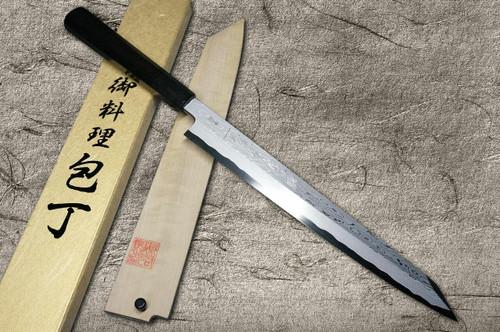 Yoshihiro Aogami No.1 Damascus Suminagashi B1SN-E Japanese Chefs Kiritsuke-YanagibaSashimi 270mm with Saya Sheath and Ebony Handle