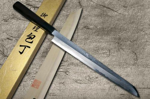 Yoshihiro Aogami No.1 Damascus Suminagashi B1SN-E Japanese Chefs Kiritsuke-YanagibaSashimi 330mm with Saya Sheath and Ebony Handle