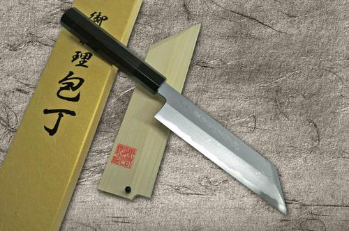Yoshihiro Aogami No.1 Damascus Suminagashi B1SN-E Japanese Chefs KenmukiVegetable 180mm with Saya Sheath and Double-Buffalo Ebony Handle
