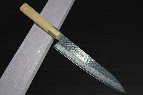Sakai Takayuki 45-Layer Damascus Goldish Tsuba Japanese Chefs Gyuto Knife 180mm