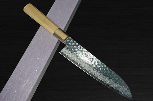 Sakai Takayuki 45-Layer Damascus Goldish Tsuba Japanese Chefs Santoku Knife 180mm