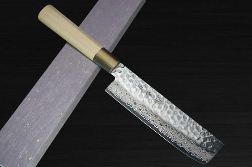 Sakai Takayuki 45-Layer Damascus Goldish Tsuba Japanese Chefs Vegetable Knife 160mm