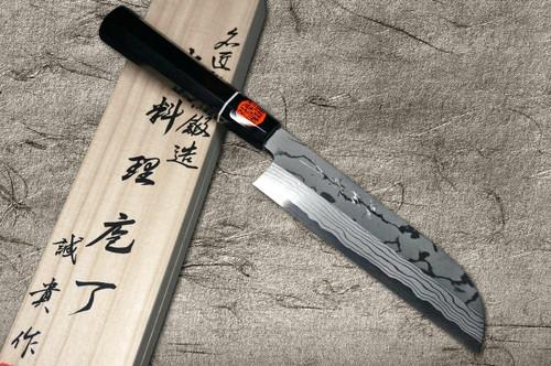 Shigeki Tanaka Aogami No.2 Damascus Japanese EB Chefs Kamagata-UsubaVegetable 180mm with Ebony Handle