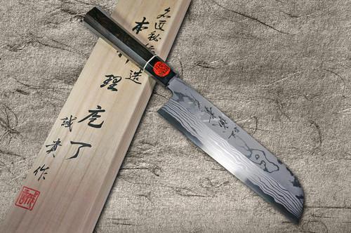 Shigeki Tanaka Aogami No.2 Damascus Japanese EB Chefs Kamagata-UsubaVegetable 210mm with Ebony Handle