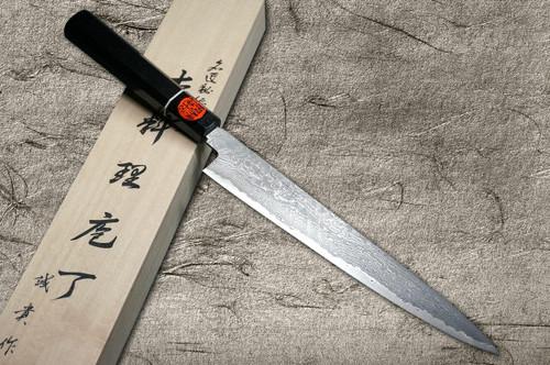 Shigeki Tanaka 33-Layer R2SG2 Damascus Habakiri Japanese Chefs SlicerSujihiki 240mm with Ebony Handle