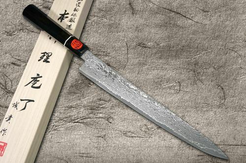 Shigeki Tanaka 33-Layer R2SG2 Damascus Habakiri Japanese Chefs SlicerSujihiki 270mm with Ebony Handle