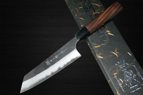 Yoshimi Kato Aogami Super Clad Kurouchi RS8 Japanese Chefs Bunka Knife 170mm with Black-Ring Octagonal Handle